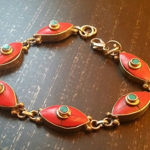 Red coral turquoise bracelet  sterling silver new